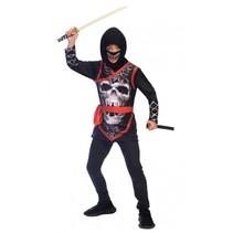 kostuum Ninja junior zwart/rood 10-12 jaar 4-delig