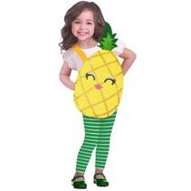 kostuum Pineapple meisjes geel/groen 3-5 jaar 3-delig