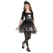 kostuum Prima Zomberina meisjes zwart 6-8 jaar 4-delig