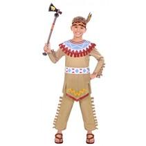 kostuum Tepee & Tomahawk jongens 6-8 jaar bruin 4-delig