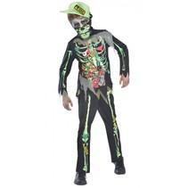 kostuum Toxic Zombie junior zwart/lime 11-12 jaar 4-delig