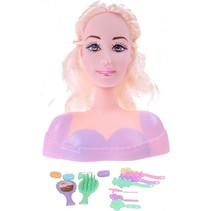 kaphoofd roze met blond haar 24 cm 15-delig