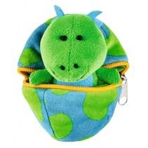knuffel dino in ei blauw/groen 9 cm