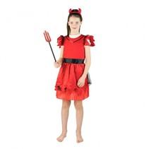 verkleedkostuum duivel meisjes rood 4-6 jaar