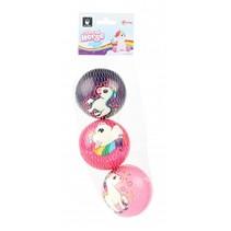PU ballen eenhoorn 7,6 cm roze 3 stuks