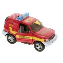 Duitse brandweerwagen diecast pull-back L+G 11 cm rood