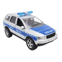 Duitse politiewagen diecast pull-back 11 cm zilvergrijs