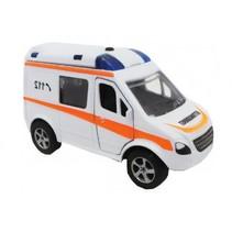 Duitse ambulance diecast pull-back 11 cm wit