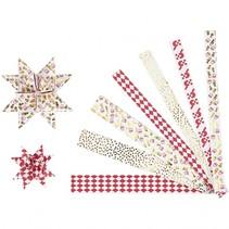 sterstroken papier 44/78 cm wit/goud/rood 48 stuks