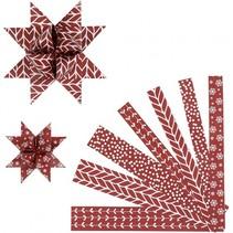 2-D vlechtstroken papier 44/78 cm rood/wit 60 stuks