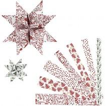 vlechtstroken Vellum-papier 44/78 cm wit/rood 48 stuks