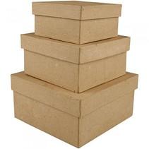 dozen Vierkant papier-maché 10-12,5-15 cm bruin 3-delig