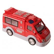 Engelse brandweerwagen met licht en geluid 17 cm rood