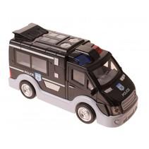 Engelse politiebus met licht en geluid 17 cm zwart