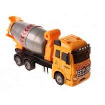 betonwagen met licht en geluid pull-back 17,5 cm geel