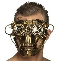 gezichtsmasker Steampunk heren goud one size