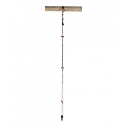 Swing King klimtouw met 3 knopen en 1 ring 180 cm lichtbruin