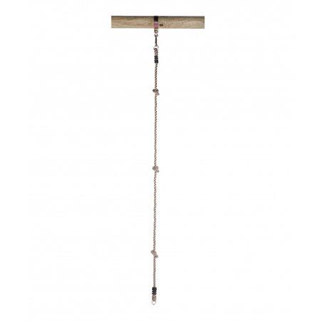 Swing King klimtouw met 3 knopen en 2 ringen 190 cm lichtbruin