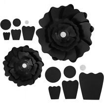 papieren bloemen zwart 15 + 25 cm 2 stuks