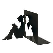 Libri_x boekensteun lezende vrouw staal zwart