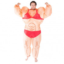 Inflatable Musclewoman Costume beige one size