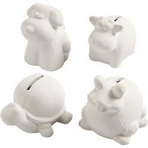 dierenspaarpotten 7-10 cm wit 4 stuks