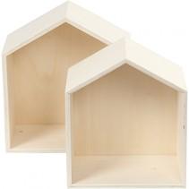 houten showdozen 22,5/25 cm blank 2 stuks