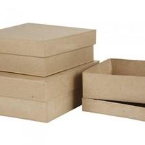 dozen Vierkant papier-maché 16-18-20 cm bruin 3-delig