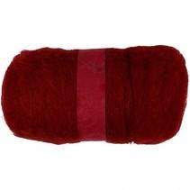 gekaarde wol bordeaux rood 100gr