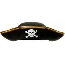 Piratenhoed junior 33 cm zwart/goud