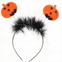 diadeem Halloween pompoen kunststof oranje/zwart