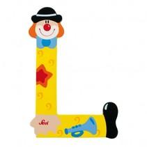 Letter L Clown geel 10 cm