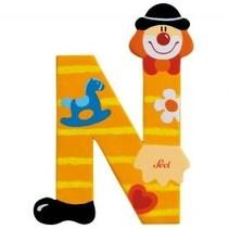 Letter N Clown oranje 10 cm