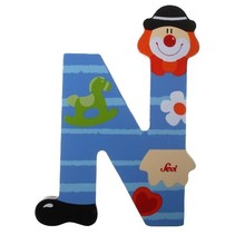 Letter N Clown blauw 10 cm