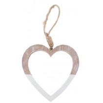 decoratiehanger led hart 11,5 cm hout blank/bruin