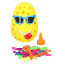 waterbom Plonsclown met 50 ballonnen 10 cm geel