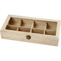 doos met glazen deksel hout 32 x 16 cm blank 8-vaks