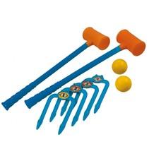 croquetspel 54 cm geel/oranje 8-delig