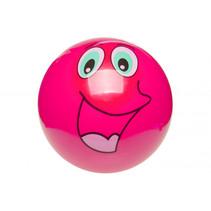 speelbal Smiling face junior 23 cm PVC roze