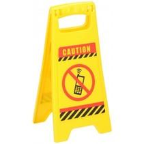 waarschuwingsbord No Phones 24,5 cm geel