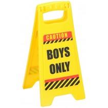 waarschuwingsbord Boys Only 24,5 cm geel