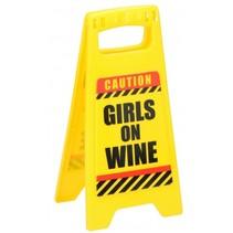 waarschuwingsbord Girls on Wine 24,5 cm geel