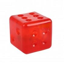 dobbelsteen met licht 4 cm rood