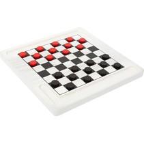 2-in-1 bordspel Schaken & Dammen 20 cm wit/zwart