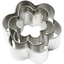 uitstekers bloem 2-3-4 cm staal zilver 3-delig