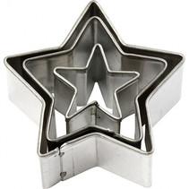 uitstekers ster 2-3-4 cm staal zilver 3-delig