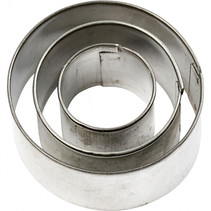 uitstekers cirkel 2-3-4 cm staal zilver 3-delig