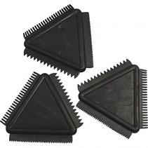 structuurkammen 9 cm zwart rubber 3 stuks
