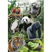 stickervel Magic jungle junior 16 cm prismafolie 7-delig