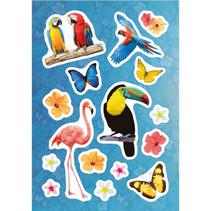 stickers Paradijs junior 12 x 8,4 cm folie 16 stuks